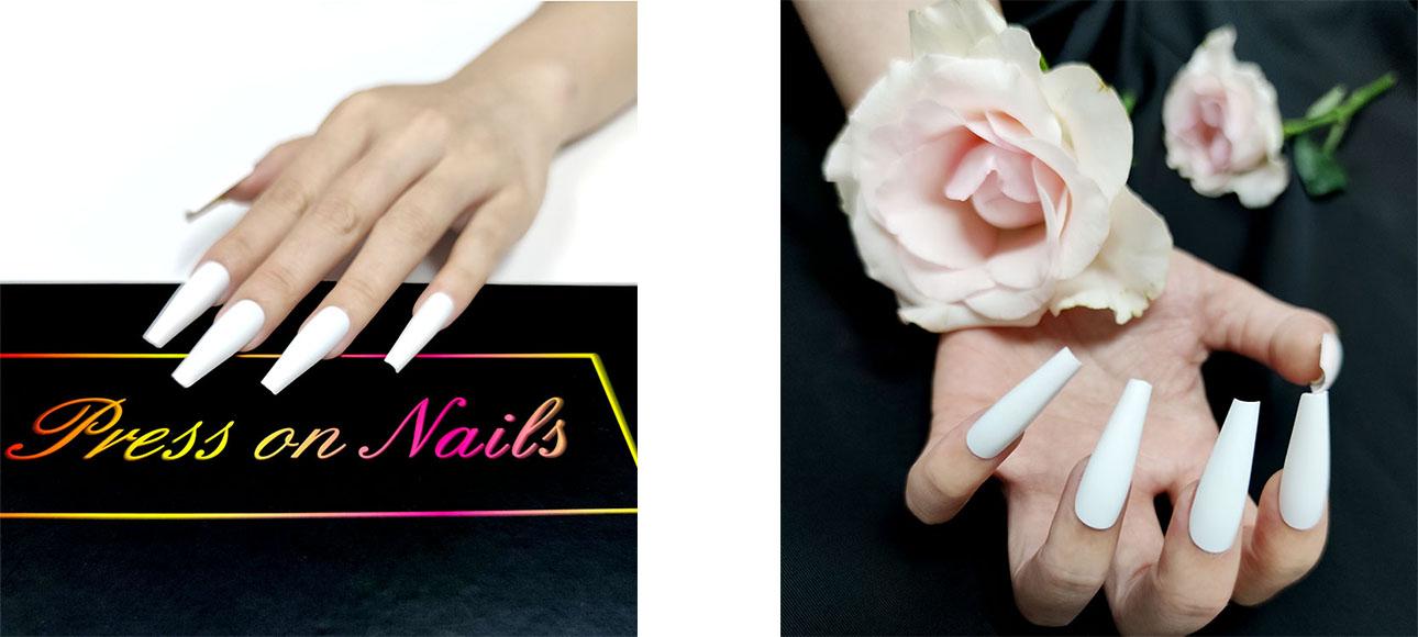 新型假指甲產品創意人工釘全蓋設計,用盒子壓釘